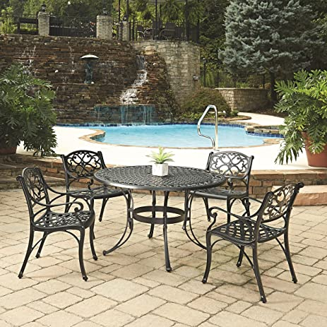 Nice Home Styles 5554 328 Biscayne 5 Piece Outdoor Dining Set, Black Finish,