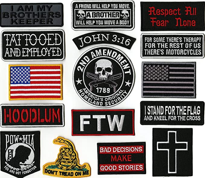 6433 RIDE FREE with American Flag 4 x 1.5 iron on Bottom Rocker patch G8 Veteran Military