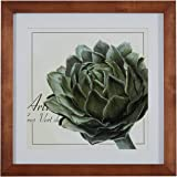 "Amazon Brand – Stone & Beam Modern Botanical Print Wall Art of Green Artichoke, Brown Frame, 22.5"" x 22.5"""