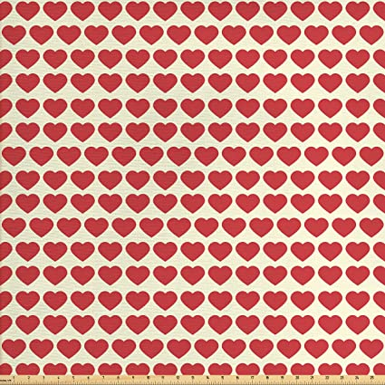 Amazon Com Ambesonne Valentine Fabric By The Yard Vibrant Red
