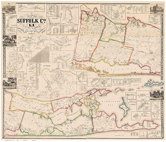 Suffolk County New York Map.Amazon Com Suffolk County New York 1858 Wall Map With Homeowner