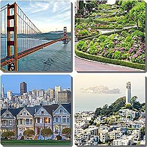 EXIT82ART - Stone Drink Coasters (Set of 4). Iconic San Francisco. Tumbled Stone, Cork-backed.