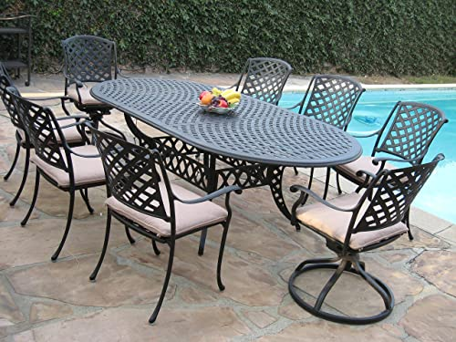 Cast Aluminum Outdoor Patio Furniture 9 Piece Expandable Dining Set DS-09KLSS260180T 2 Swivel Rockers 6 Armchair