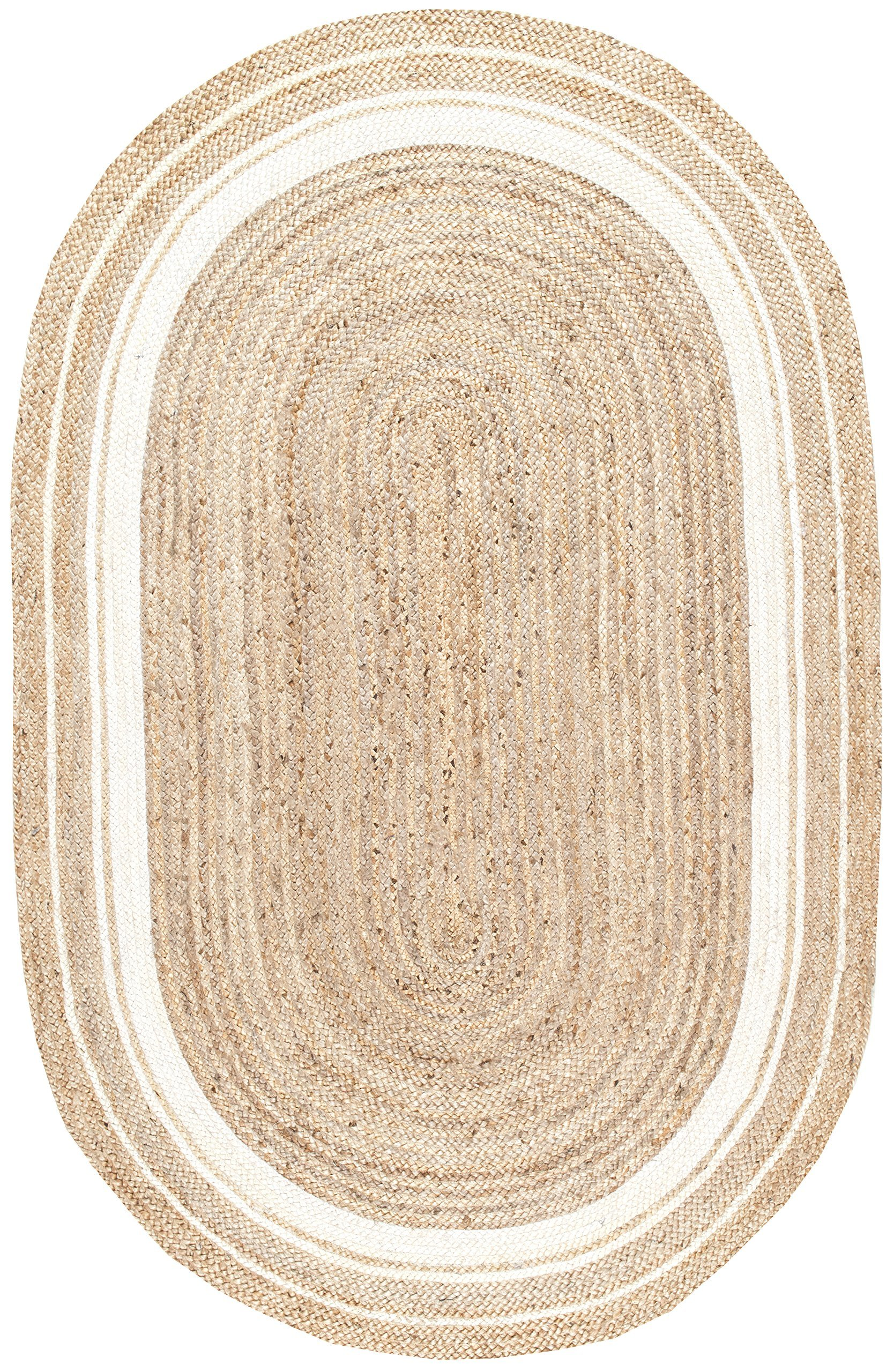 Stone & Beam Contemporary Rikki Border Jute Rug, 5' x 8' Oval, Bleached Denim by Stone & Beam