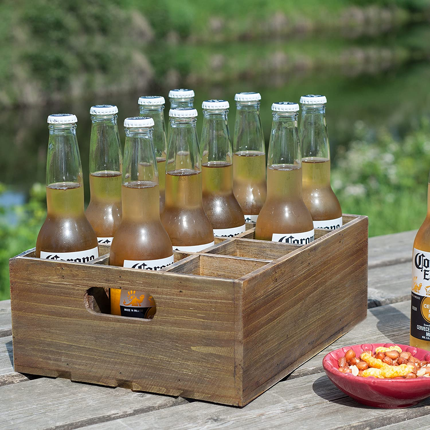 Amazon.com: Vintage Finish Rustic Brown Wood 12 Slot Beer Bottle ...