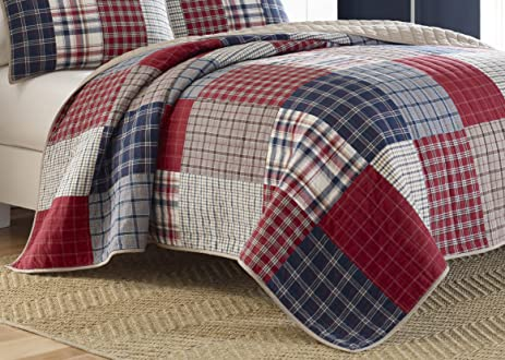 Amazon.com: Nautica Ansell Cotton Pieced Quilt, Full/Queen, Red ... : red cotton quilt - Adamdwight.com