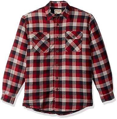 Wrangler Men's Authentics Long Sleeve Quilted Lined Flannel Shirt ... : quilted lined flannel shirt - Adamdwight.com