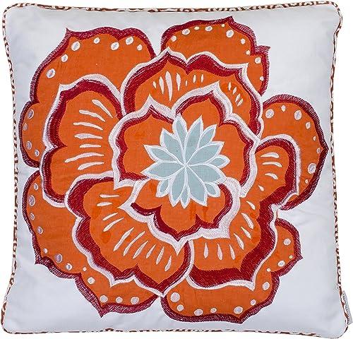 Levtex home Abigail Flower Pillow, 18×18, Orange