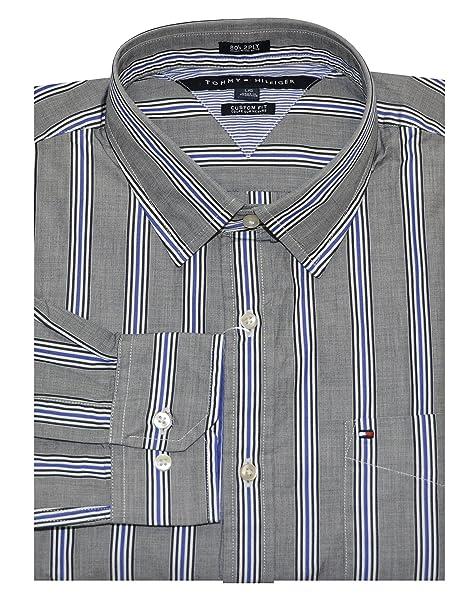 1a521bbf9 Tommy Hilfiger Men Custom Fit 80's 2 Ply Striped Shirt (Large, Heather Navy/