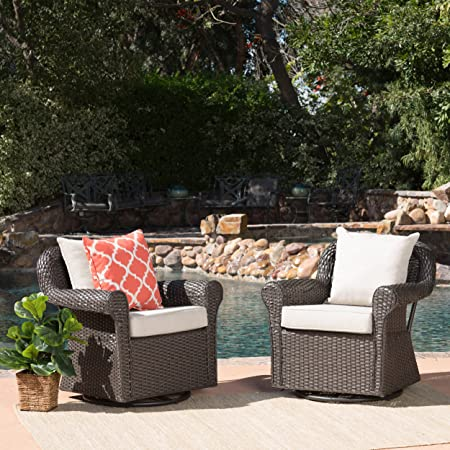 Christopher Knight Home Augusta Patio Furniture ~ Outdoor Wicker Swivel Rocker (Glider) Chair (Set of 2)