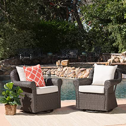 Patio Furniture Sets With Swivel Chairs.Christopher Knight Home Augusta Patio Furniture Outdoor Wicker Swivel Rocker Glider Chair Set Of 2