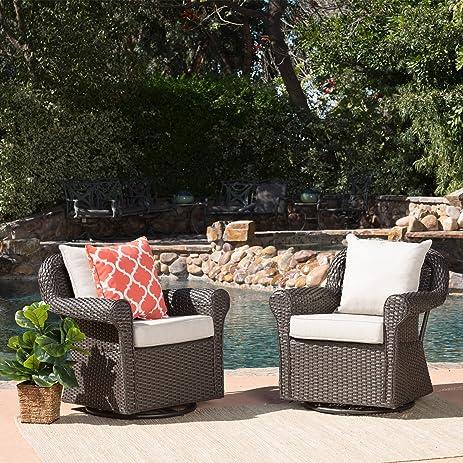 Augusta Patio Furniture ~ Outdoor Wicker Swivel Rocker (Glider) Chair (Set  Of 2
