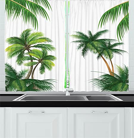 Tropical Kitchen Curtains By Ambesonne, Coconut Palm Tree Nature Paradise  Plants Foliage Leaves Digital Illustration