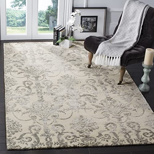 Safavieh Bella Collection BEL917A Ivory and Grey Premium Wool Viscose Area Rug 4 x 6