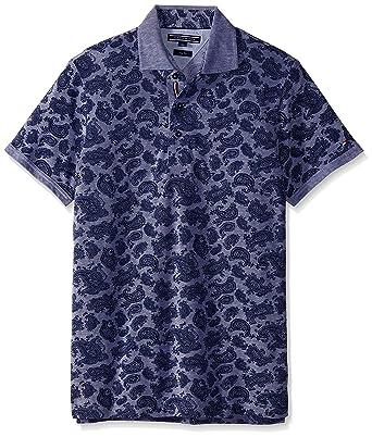 244dec06 Tommy Hilfiger Men's Slim Fit Paisley Bay Logo Polo Shirt, Blue, X-Large