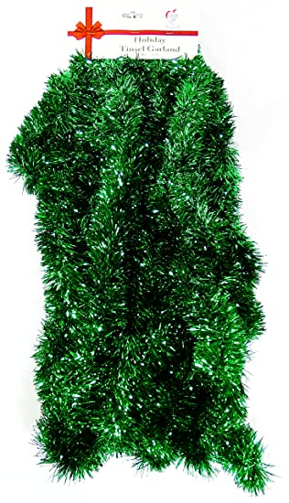 Christmas Green Color.25 Ft Long Seasonal Holiday Tinsel Garland From Love It Products Use For Christmas Thanksgiving New Years Birthday And Any Celebration Party Or