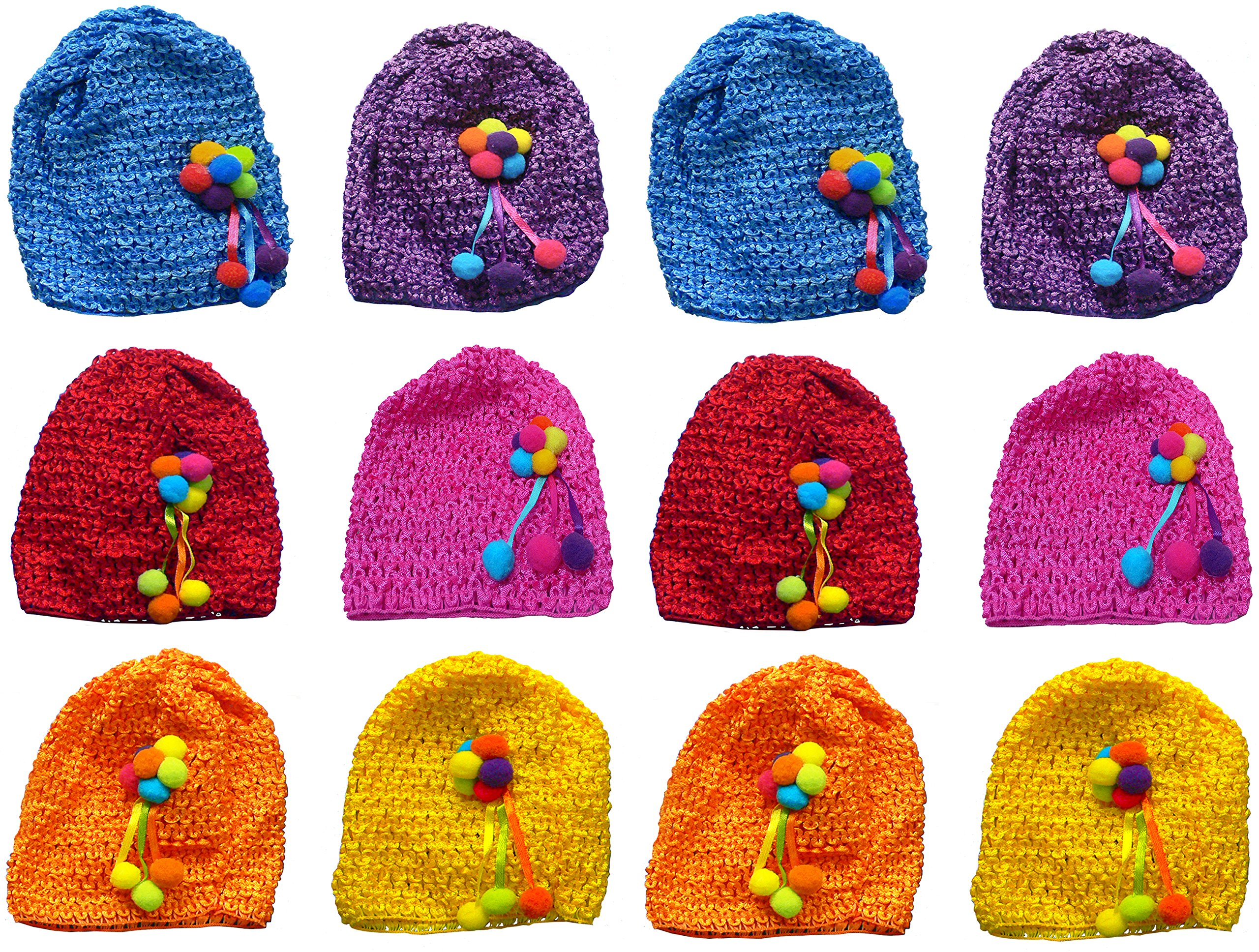 Dozen Pack Toddler's Stretchy Knitted Bonnets with Ornement, 2 Ea of 6 Colors U16250-6412-D