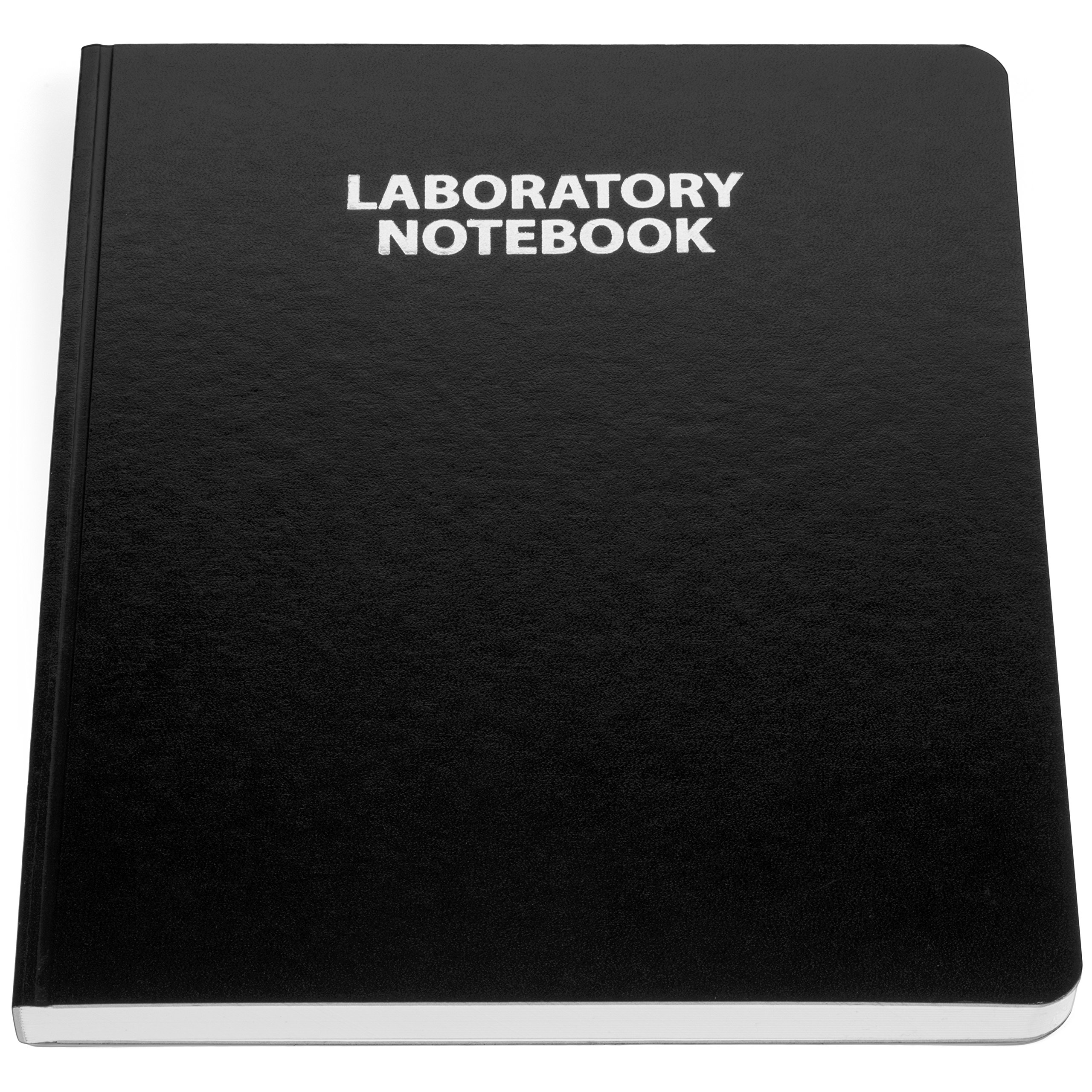 Scientific Notebook Company Flush Trimmed, Model #2001HZ Research Laboratory Notebook, 192 Pages, Smyth Sewn, 9.25 X 11.25, 1/4'' lined (Black Cover)