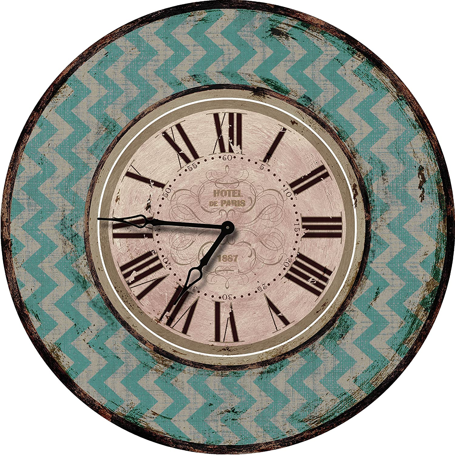 Amazoncom Teal Chevron Wood Wall Clock Oversized Wall Clocks