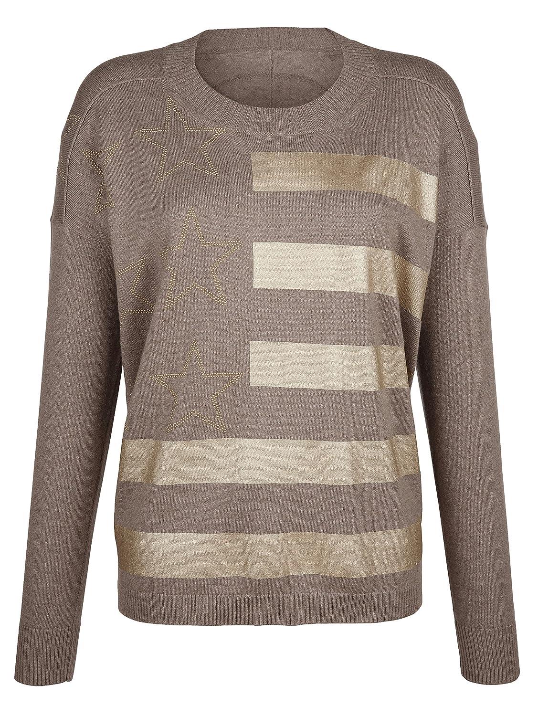 von Alba Moda Damen Oversized Pullover mit goldfarbenen
