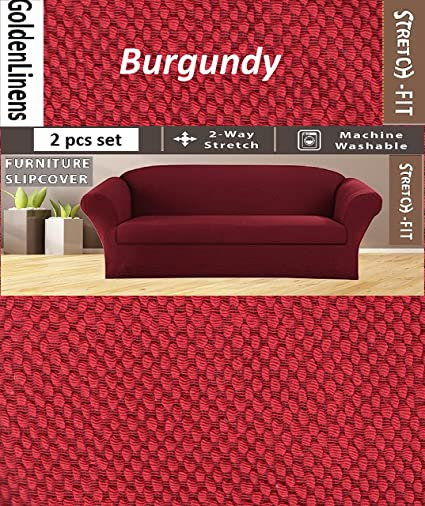 2 pcs Stretch Slipcovers Set, Couch/ Sofa And Loveseat Cover (Burgundy)