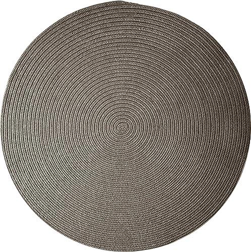Boca Raton Polypropylene Braided Round Rug, 6-Feet, Gray