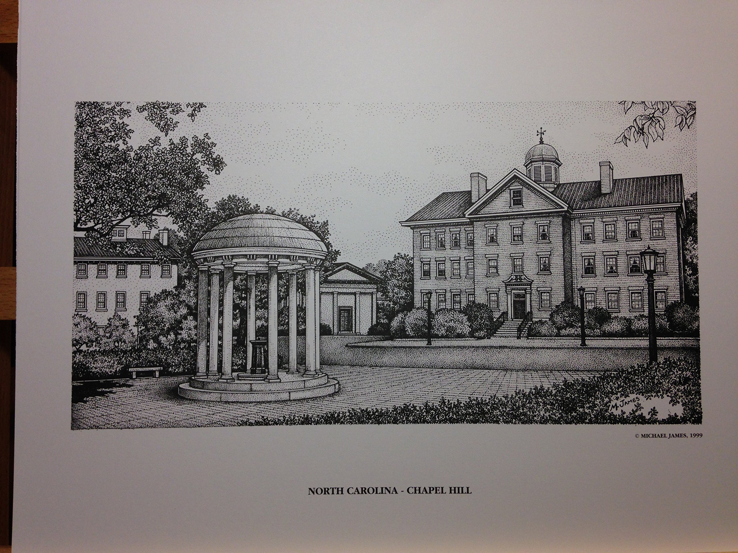 North Carolina Chapel Hill Old Well 11x14 pen and ink print