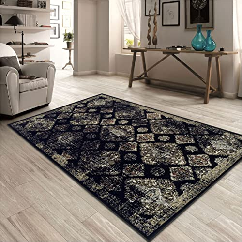 Superior Mayfair Collection Area Rug, 8mm Pile Height with Jute Backing, Vintage Distressed Medallion Pattern, Fashionable and Affordable Woven Rugs – 8 x 10 Rug, Black