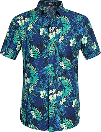 SSLR Mens Flamingos Casual Short Sleeve Aloha Hawaiian Shirt