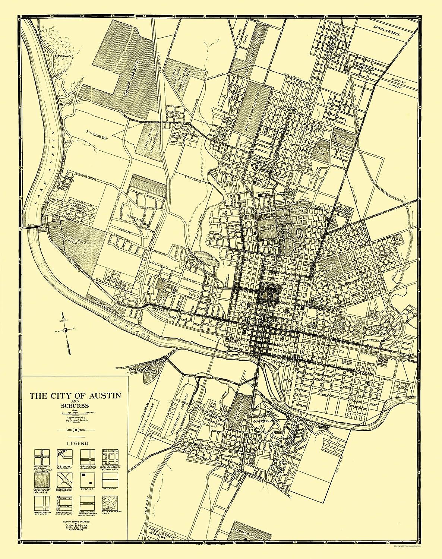 Amazon.com: Old City Map - Austin, Suburbs Texas - Penick 1925 - 23 ...