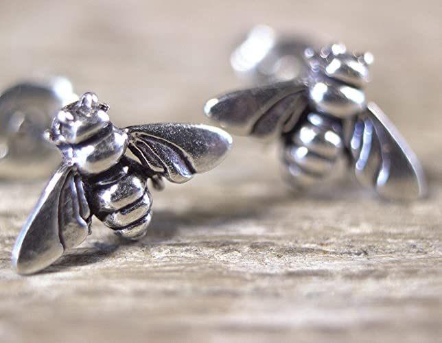 2206bc857 Amazon.com: Sterling Silver Honey Bee Stud Earrings, Second Hole Stud  Earrings, Cartilage Earrings: Handmade