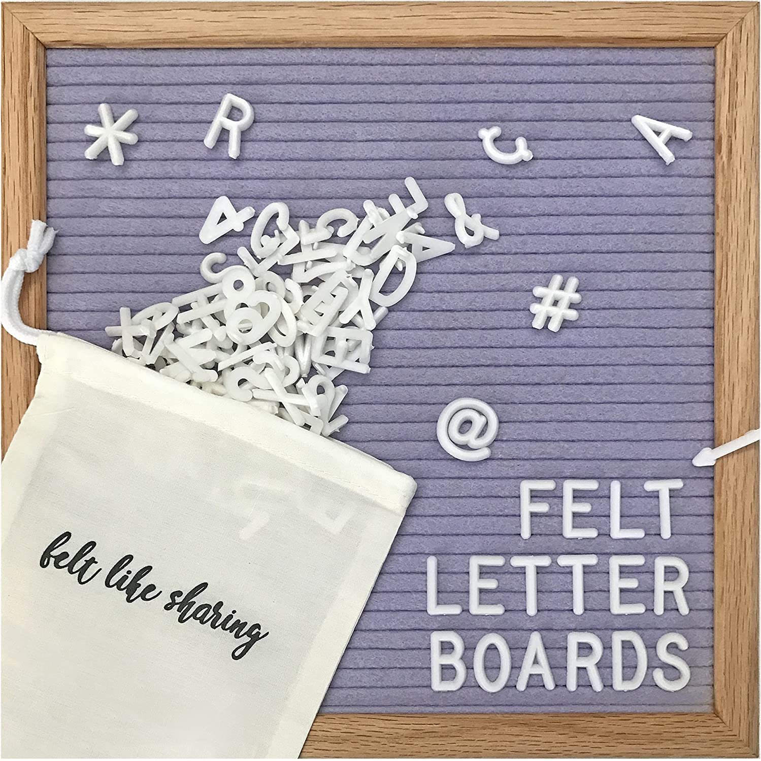 Lavender Felt Letter Board 10x10 Inches. Changeable Letter Boards Include 300 White Plastic Letters and Oak Frame.