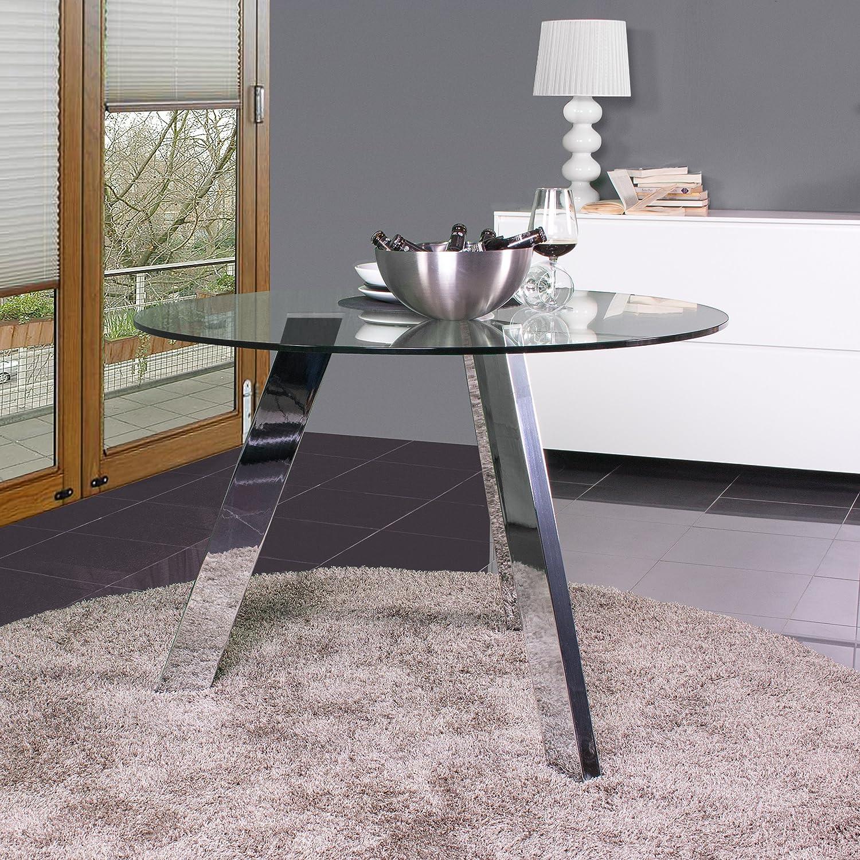 Mesa de Comedor Redonda de Cristal TRIPODE con Patas Metal - Cromado, Redonda 110 cm.: Amazon.es: Hogar