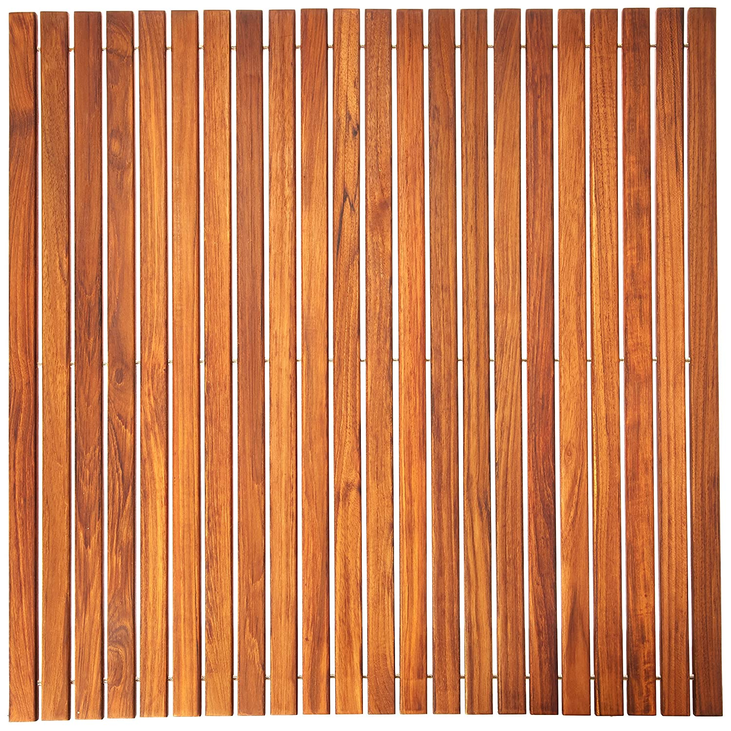 Bare Decor Fuji String Spa Shower Mat in Solid Teak Wood Oiled Finish. XL Square 30-Inchx30-Inch BARE-WF2134