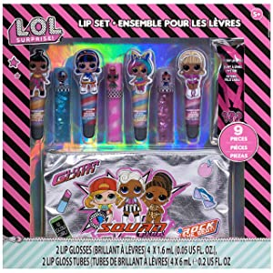 Townley Girl L.O.L. Surprise! Makeup Set with 8 Flavored Lip Glosses for Girls with 1 Surprise Lip Gloss Color and Flavor, Ages 5+