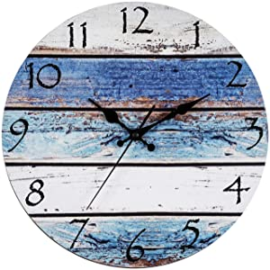 "Bernhard Products Rustic Beach Wall Clock 12"" Round, Silent Non Ticking - Battery Operated, Fiberboard Wooden Look, Vintage Shabby Beachy Ocean Paint Boards Nautical Decorative Clock (12 Inch)"