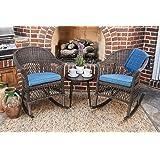 Quality Outdoor Living 65-YZSP03 Teagan Rocking 3 Piece Chat Set, Dark Brown Wicker + Blue Cushions