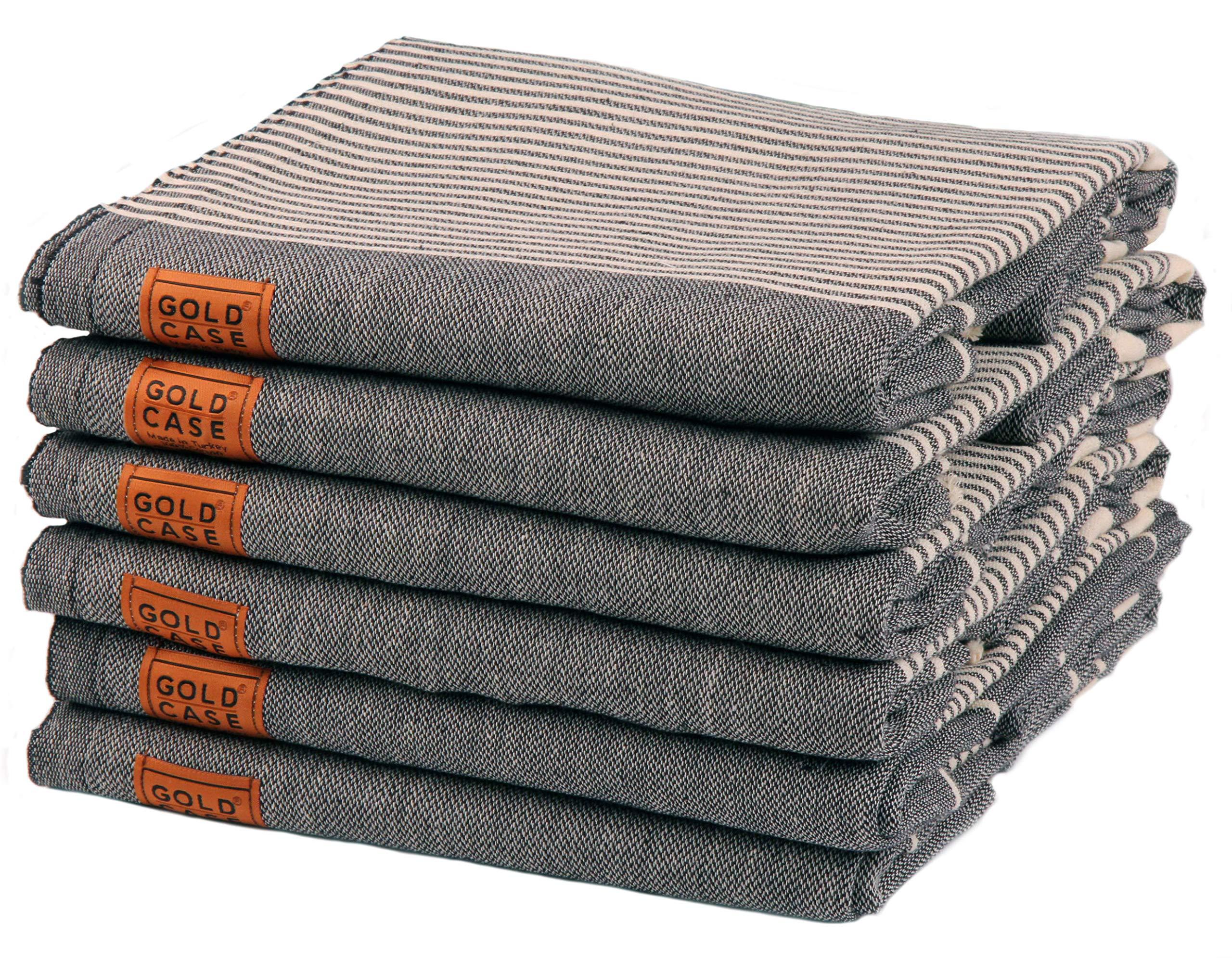 Gold Case Set of 6 XXL Hera Pestemal Towels Turkish Cotton Bath Beach Hammam Towel Peshtemal Throw Blanket (Black)