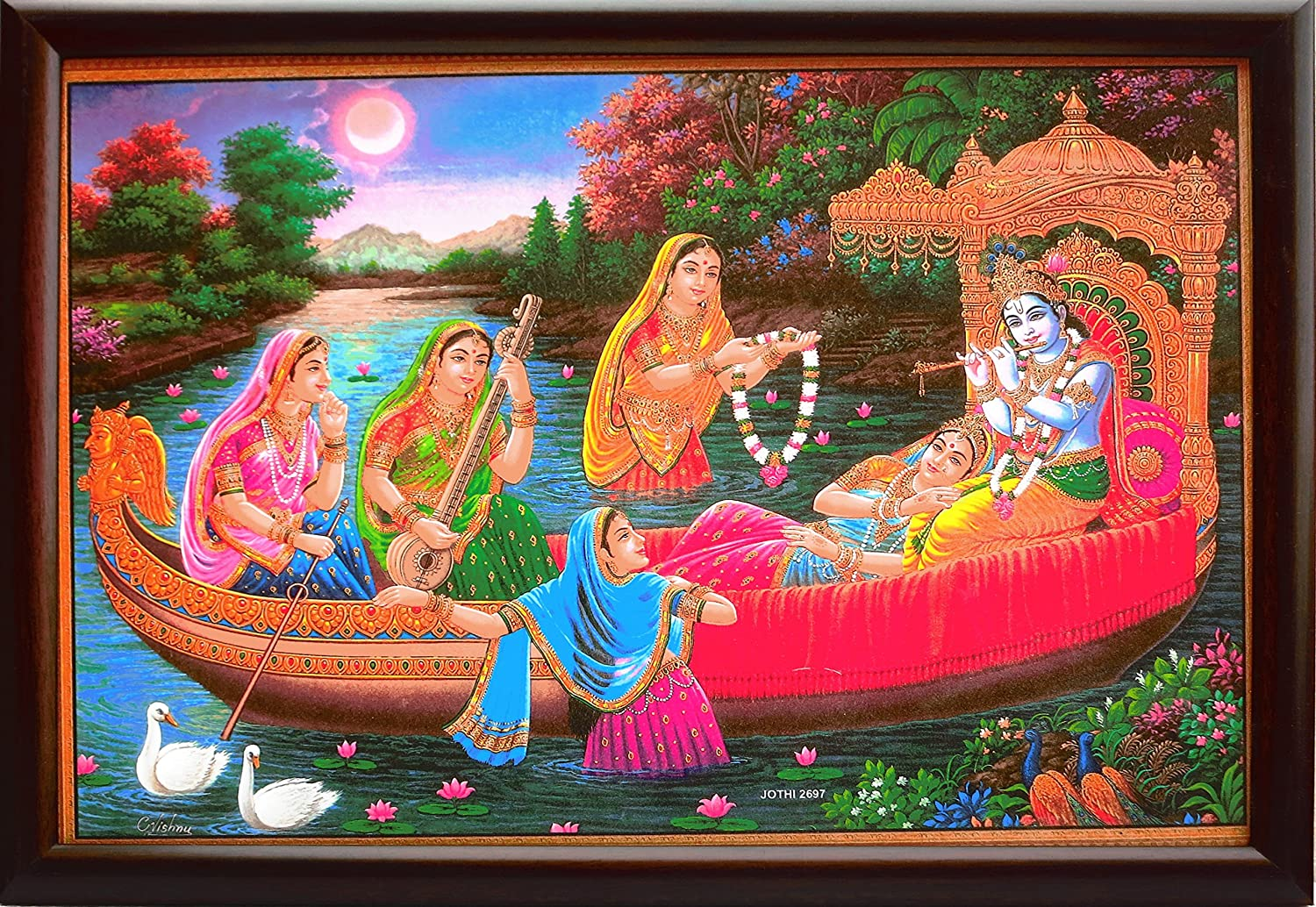 Lord Krishna seating in boat and playing flute and Radha and her dasi playing musical instruments, A Elegant and Modern Art Poster painting for Home Décor and Religious purpose