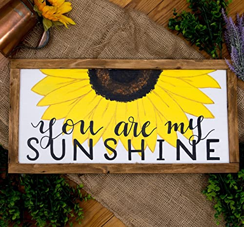 You are my sunshine sign, Sunflower wall art for Kitchen, You are my  Sunshine Nursery wall decor, Country Sunflower wall hanging Framed