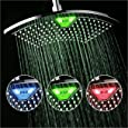 DreamSpa AquaFan 12 inch All-Chrome Rainfall-LED-Shower-Head with Color-Changing LED/LCD Temperature Display