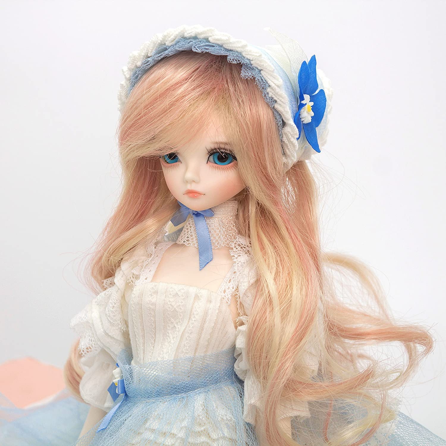 1//4 BJD Girl Doll Long Curly Wig Hair For Dollfie Hairstyle Hairpiece Custom