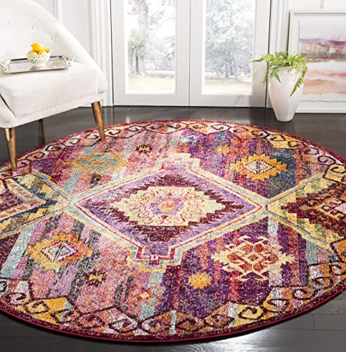Safavieh Savannah Collection Premium Wool Round Area Rug, 7 Diameter, Red Violet