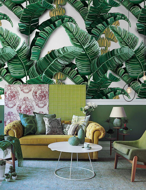 Leaf Pattern Wallpaper Vintage Leaves Wall Mural Tropical Home Decor Natural Cafe Design Living Room Bedroom Entryway