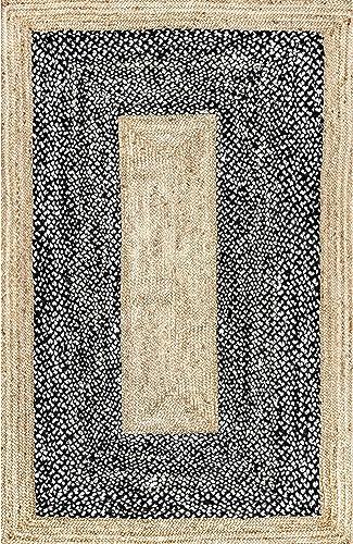 nuLOOM Lesha Natural Fiber Jute Rug, 7 6 x 9 6 , Black