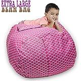 "Stuffed Animal Storage Bean Bag Chair 38"" Extra Large Premium Cotton Canvas By SAKIBO (Light Red,White)"