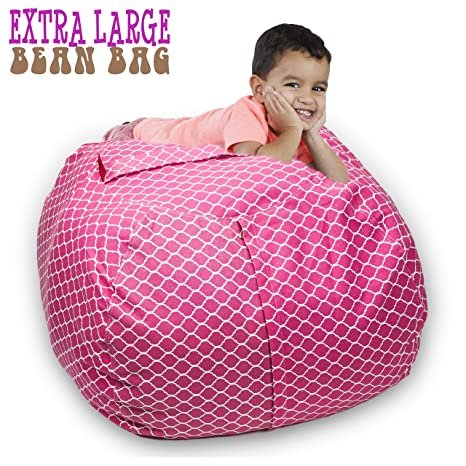 Fantastic Stuffed Animal Storage Bean Bag Chair 38 Extra Large Premium Cotton Canvas By Sakibo Light Red White Camellatalisay Diy Chair Ideas Camellatalisaycom