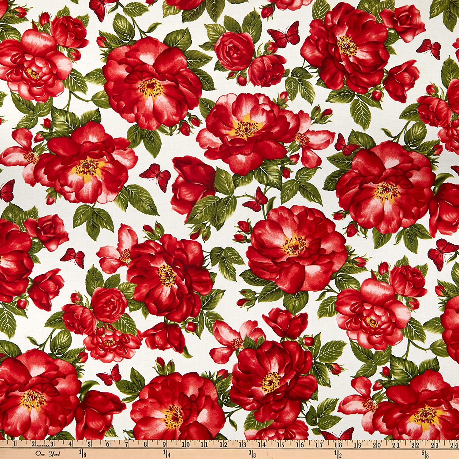Timeless Treasures Garden Rose Large Roses & Butterflies Cream Quilt Fabric By The Yard