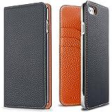 iPhone 8 / 7ケース BONAVENTURA ボナベンチュラ German Leather 2 Tone Diary case - Navy×Orange (ネイビー×オレンジ)