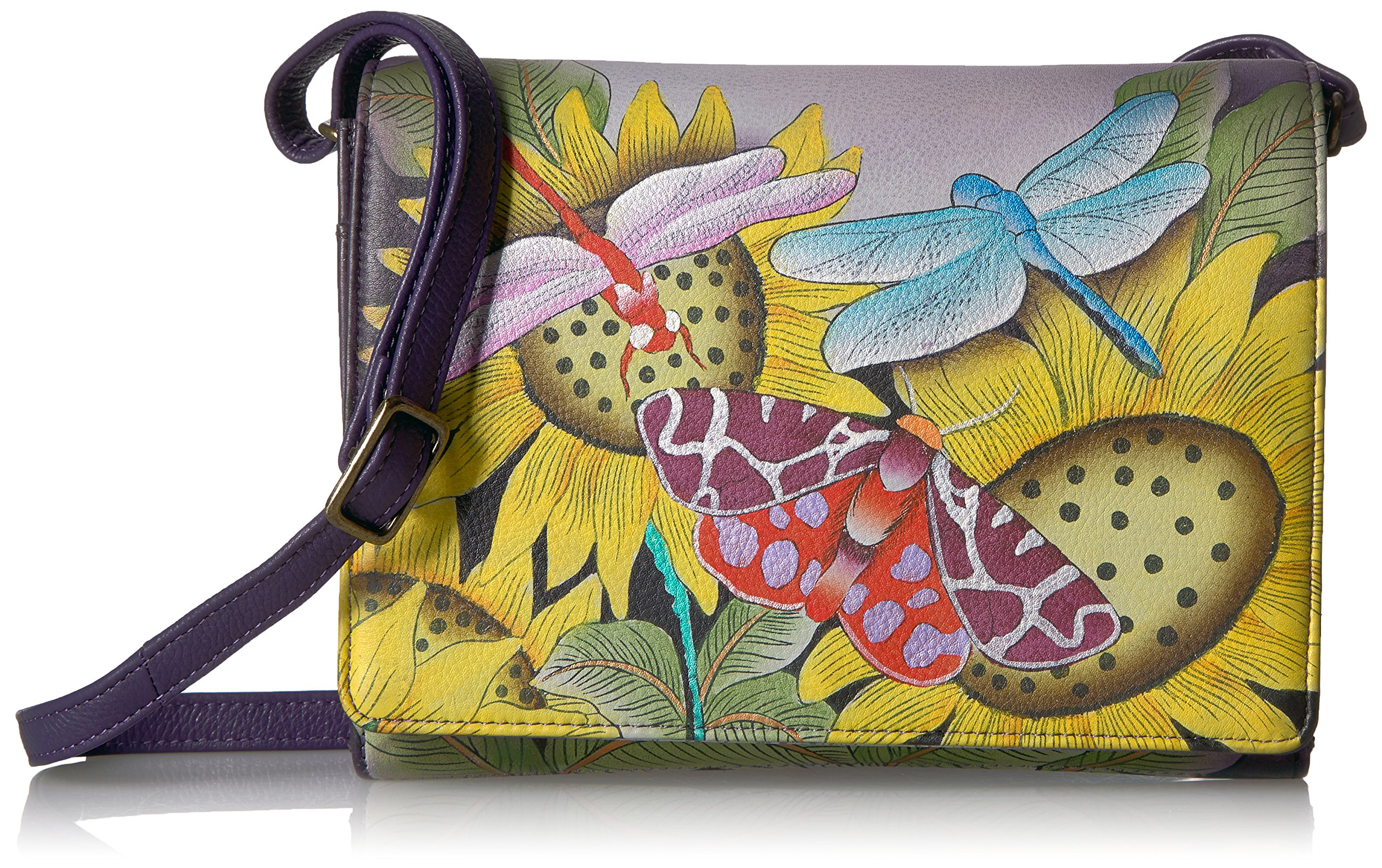 Anna by Anuschka Handpainted Leather Women's Flap Cross Body, Tpd-Tuscan Paradise